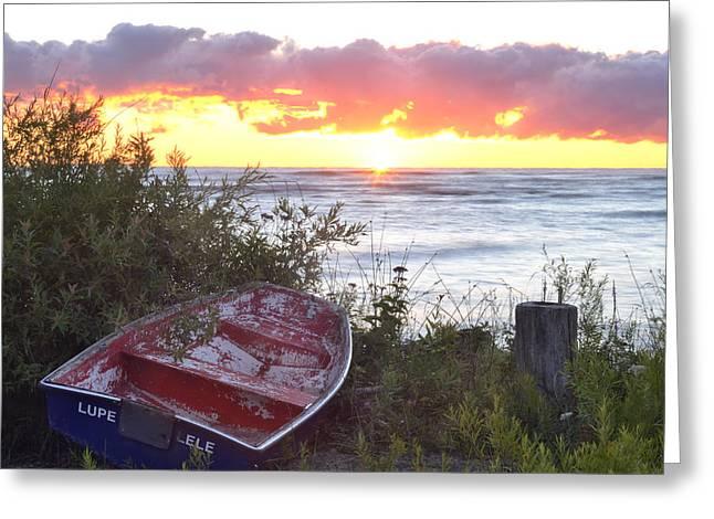Rowboat At Sunrise Greeting Card