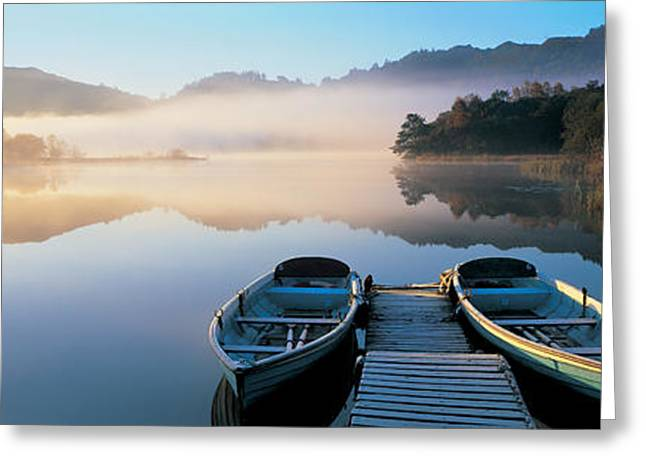 Rowboats At The Lakeside, English Lake Greeting Card by Panoramic Images