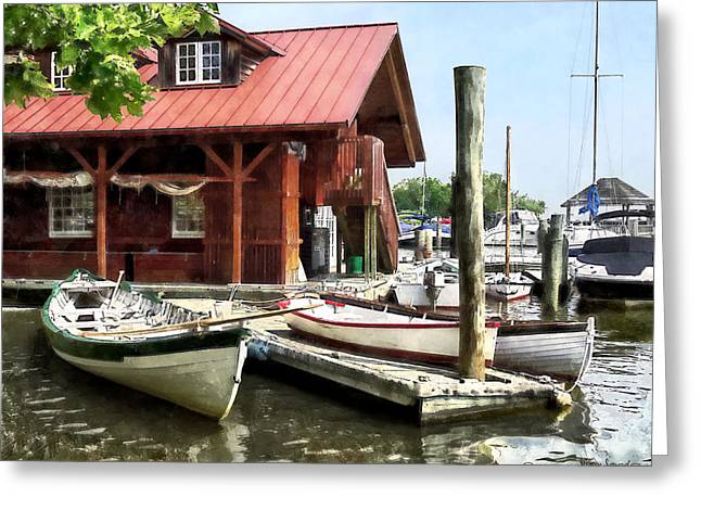 Alexandria Va - Rowboats By Founders Park Greeting Card by Susan Savad