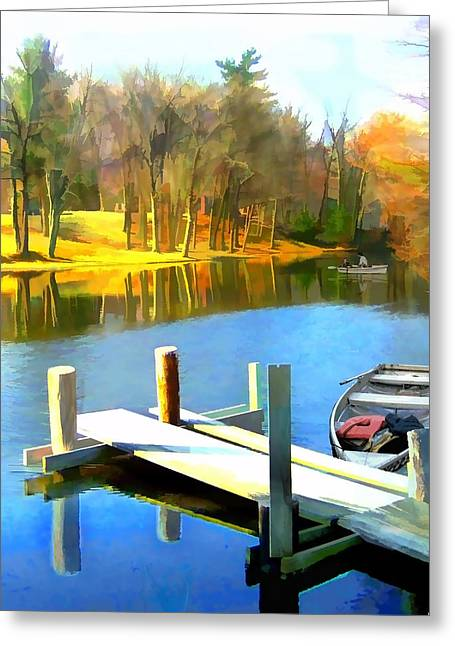 Rowboats On Blue Water Lake Greeting Card by Elaine Plesser