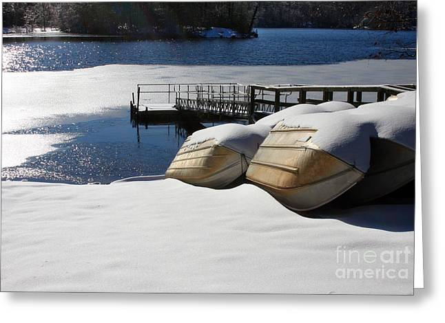 Rowboats Resting In Winter Greeting Card