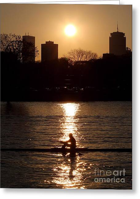 Rower Sunrise Greeting Card