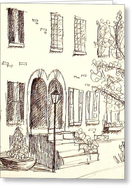 Rowhouse Doorways In Spring Greeting Card