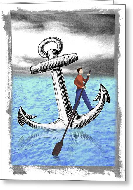 Rowing Anchor Greeting Card by Steve Dininno