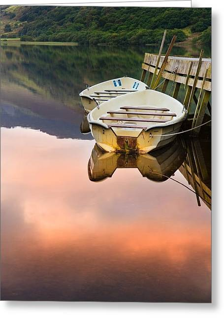 Rowing Boats Moored At Jetty On Llyn Nantlle In Snowdonia Nation Greeting Card