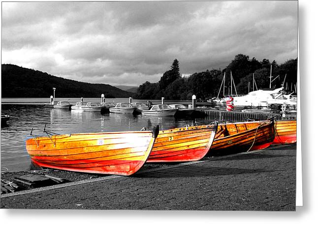 Rowing Boats Ready For Work Greeting Card