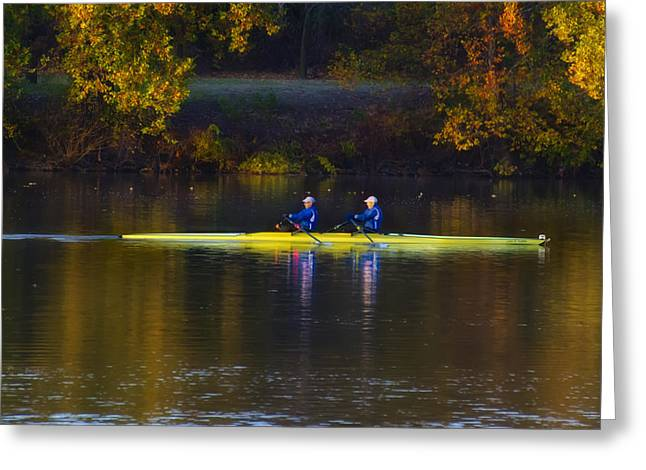 Rowing In Autumn Greeting Card