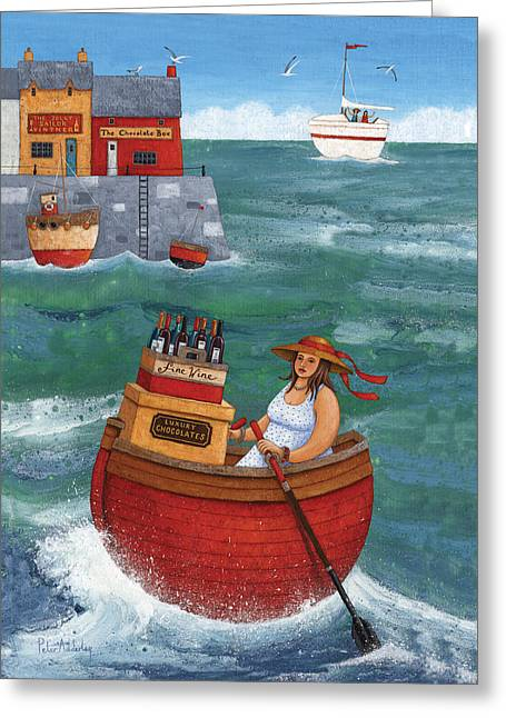 Rowing In Luxury Greeting Card by Peter Adderley