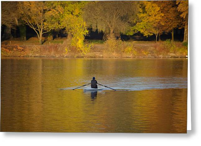 Rowing In The Golden Light Of Autumn Greeting Card by Bill Cannon