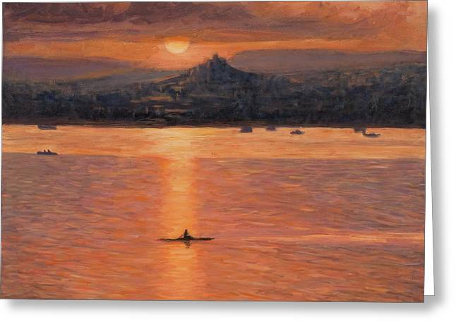 Rowing In The Sunset Greeting Card by Marco Busoni