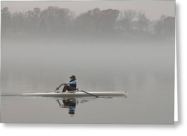 Rowing Into Morning Fog Greeting Card