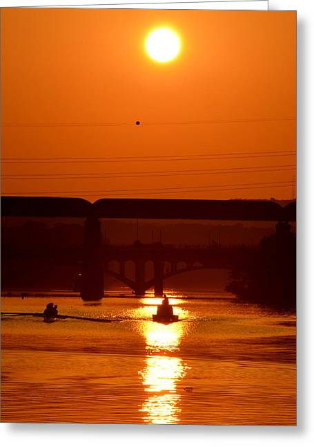 Rowing Into The Sun Greeting Card