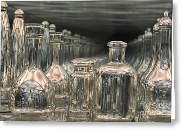 Greeting Card featuring the photograph Rows Of Bottles by Randi Grace Nilsberg