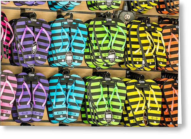 Rows Of Flip-flops Key West - Square Greeting Card by Ian Monk