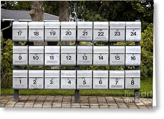 Rows Of Grey Mailboxes With Numbers Greeting Card by Frank Bach