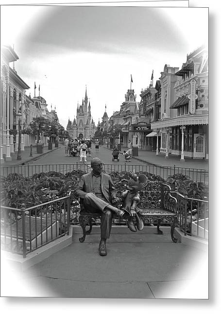 Roy And Minnie Mouse Black And White Magic Kingdom Walt Disney World Greeting Card by Thomas Woolworth