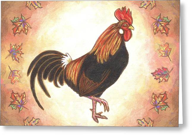 Roy The Rooster Two Greeting Card by Linda Mears