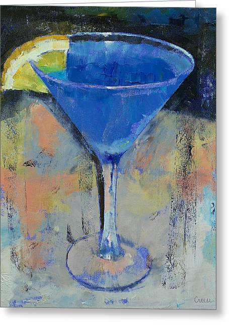 Royal Blue Martini Greeting Card by Michael Creese