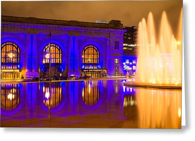 Royal Blue Reflections Union Station Greeting Card