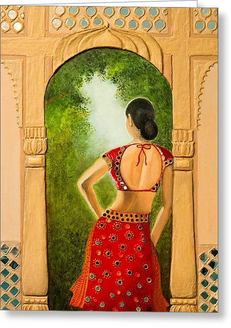 Royal Bride Greeting Card by Archana Doddi