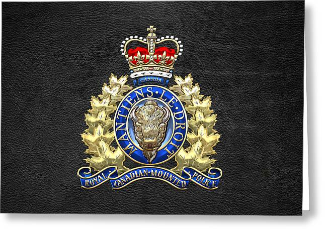 Royal Canadian Mounted Police - Rcmp Badge On Black Leather Greeting Card