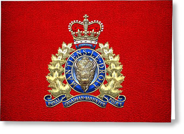 Royal Canadian Mounted Police - Rcmp Badge On Red Leather Greeting Card