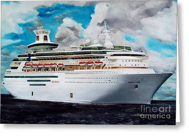 Royal Caribbean Sovereign Of The Seas Greeting Card by Kenneth Harris