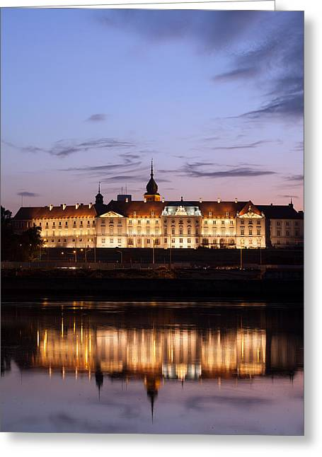Royal Castle And Vistula River At Twilight In Warsaw Greeting Card by Artur Bogacki