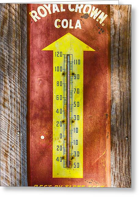 Greeting Card featuring the photograph Royal Crown Barn Thermometer by Carolyn Marshall