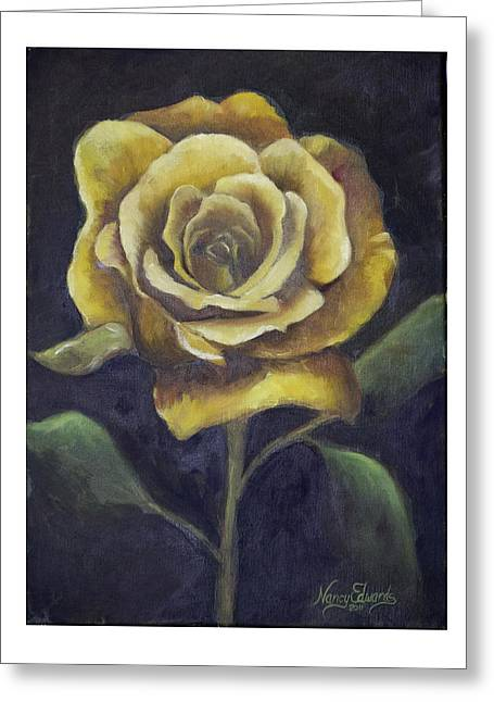 Royal Gold Bloom Greeting Card by Nancy Edwards