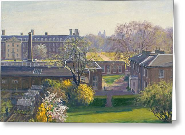 Royal Hospital From 33 Tite Street Oil On Canvas Greeting Card by Julian Barrow