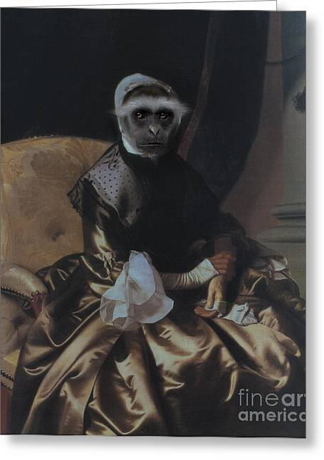 Royal Lady Monkey Human Body Animal Head Portrait Greeting Card by Jolanta Meskauskiene