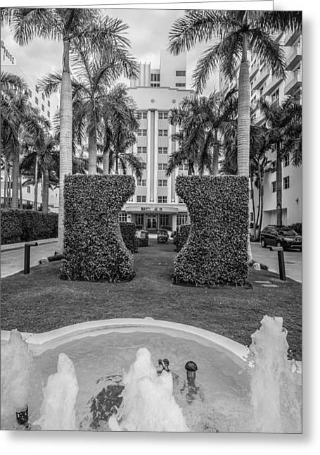 Royal Palm Hotel On South Beach Miami - Black And White Greeting Card