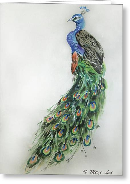 Royal Peacock Greeting Card by Mitzi Lai