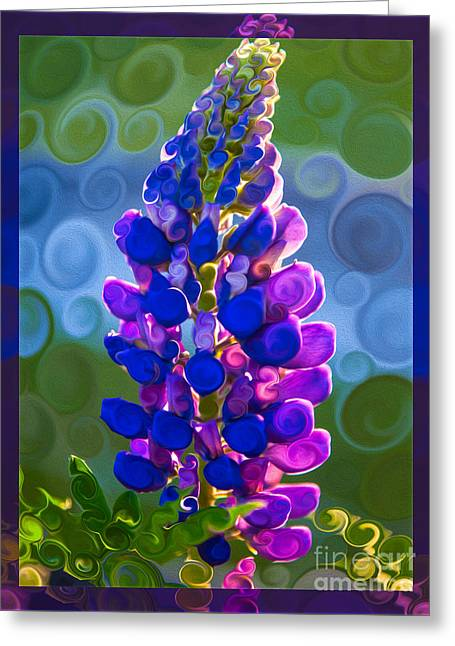 Royal Purple Lupine Flower Abstract Art Greeting Card