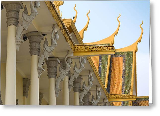 Royal Roof Cambodia Greeting Card by Bill Mock