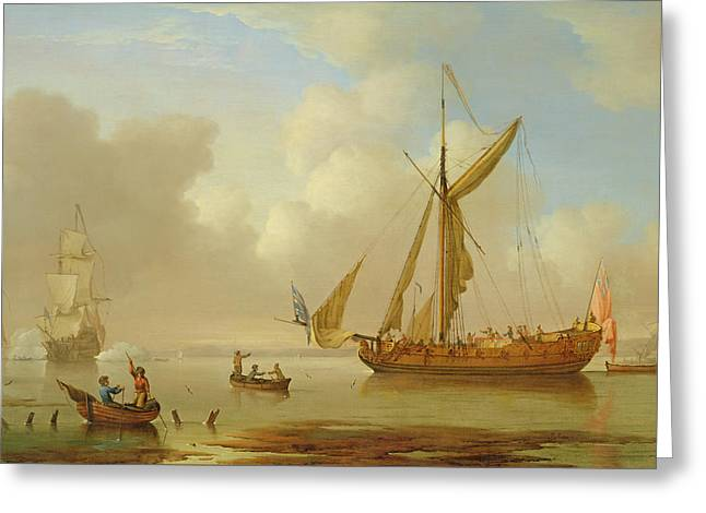 Royal Yacht Becalmed At Anchor Greeting Card by  Peter Monamy