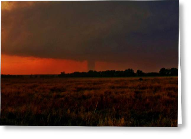 Greeting Card featuring the photograph Rozel Tornado On The Horizon by Ed Sweeney