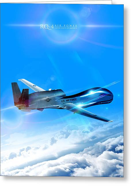 Rq-4 Global Hawk Into The Blue  Greeting Card