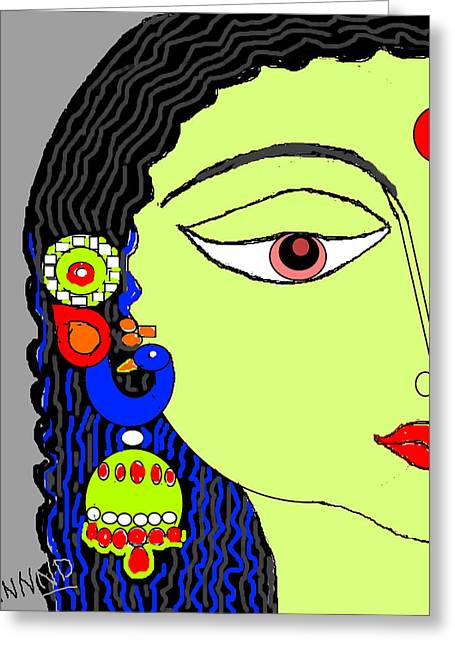 Rradha With Ornaments-12 Greeting Card by Anand Swaroop Manchiraju