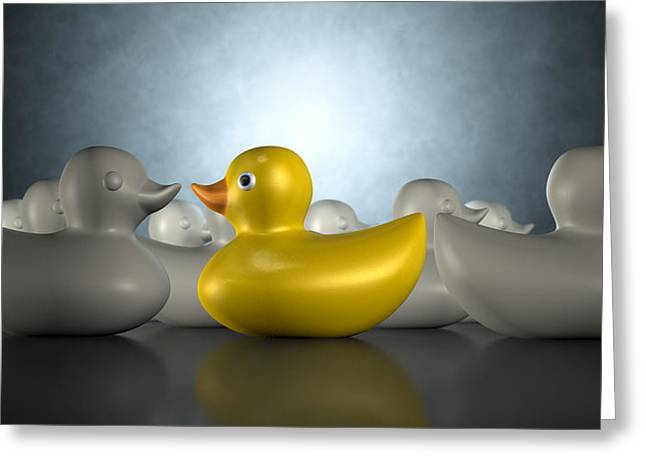 Rubber Duck Against The Flow Greeting Card