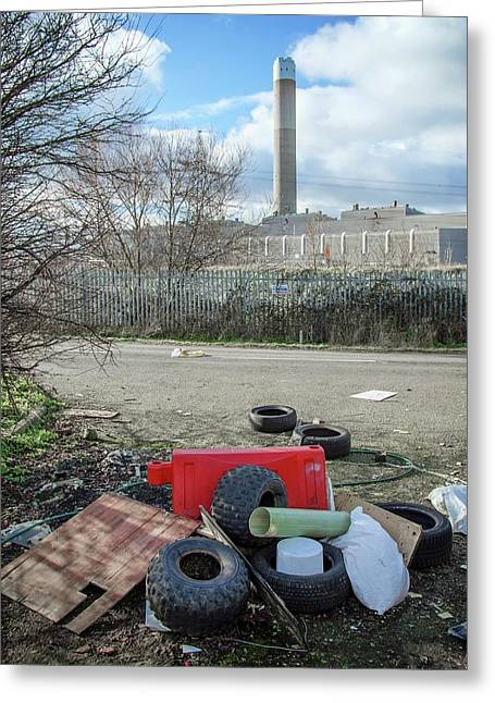 Rubbish Dumped Near Power Station Greeting Card