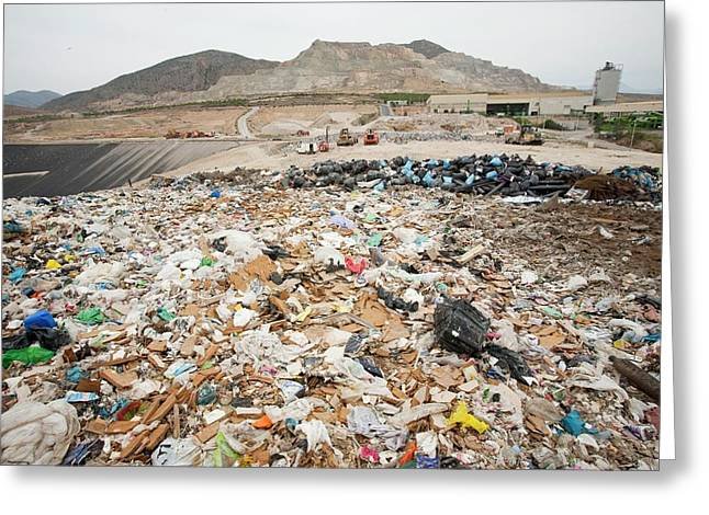 Rubbish On A Landfill Site Greeting Card by Ashley Cooper