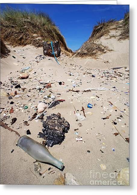 Rubbish On A Sand Dune Greeting Card by Sami Sarkis
