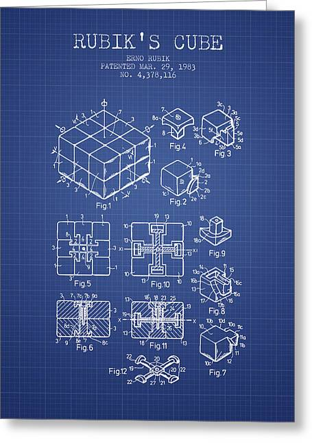 Rubiks Cube Patent From 1983 - Blueprint Greeting Card by Aged Pixel