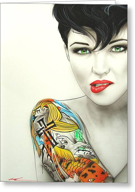 Ruby Rose - ' Ruby II ' Greeting Card by Christian Chapman Art