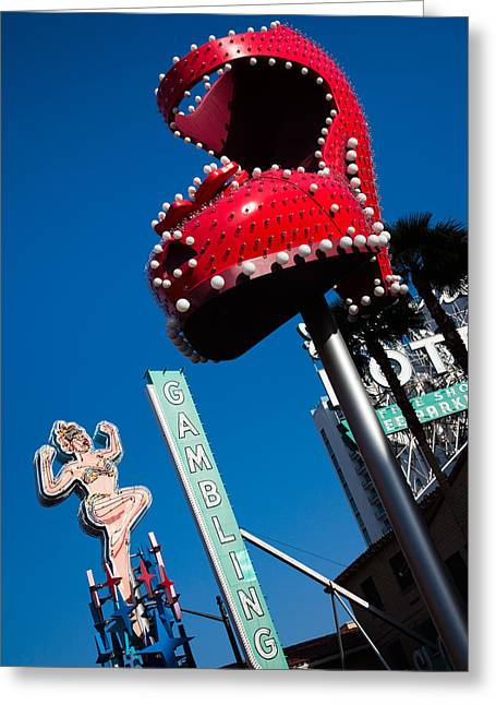 Ruby Slipper Neon Sign In A City, El Greeting Card