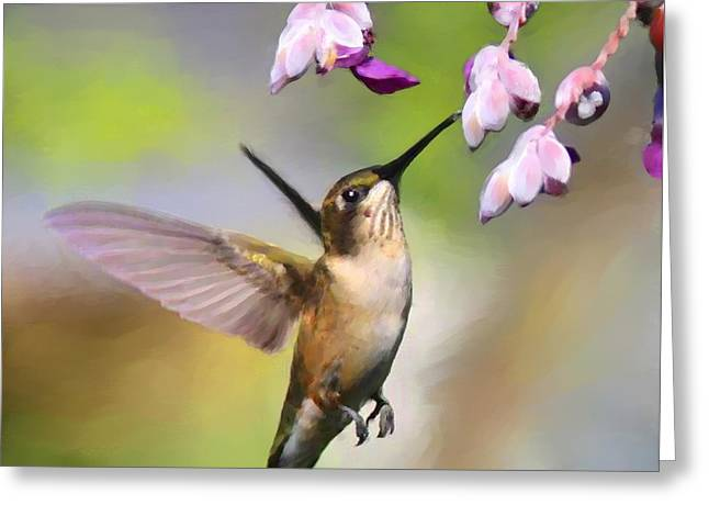 Ruby-throated Hummingbird - Digital Art Greeting Card by Travis Truelove