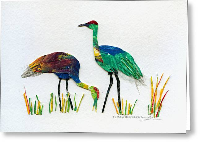 Ruby Valley Sandhill Cranes Greeting Card by Shirley Robinett