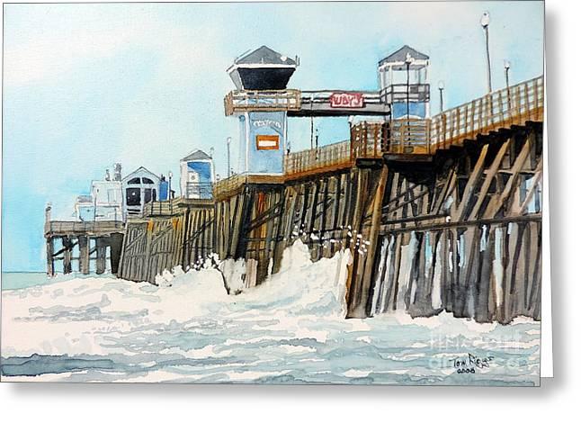 Ruby's Oceanside Pier Greeting Card by Tom Riggs